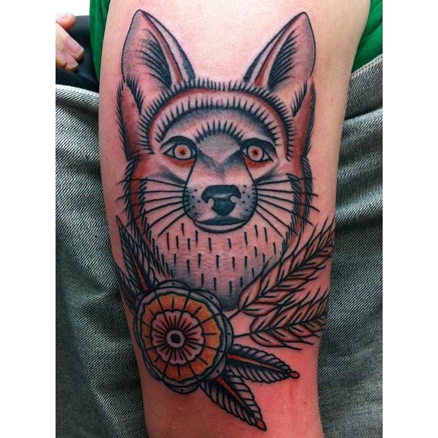 Fox and flower tattoo