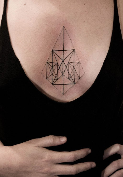 Geometric sternum tattoo