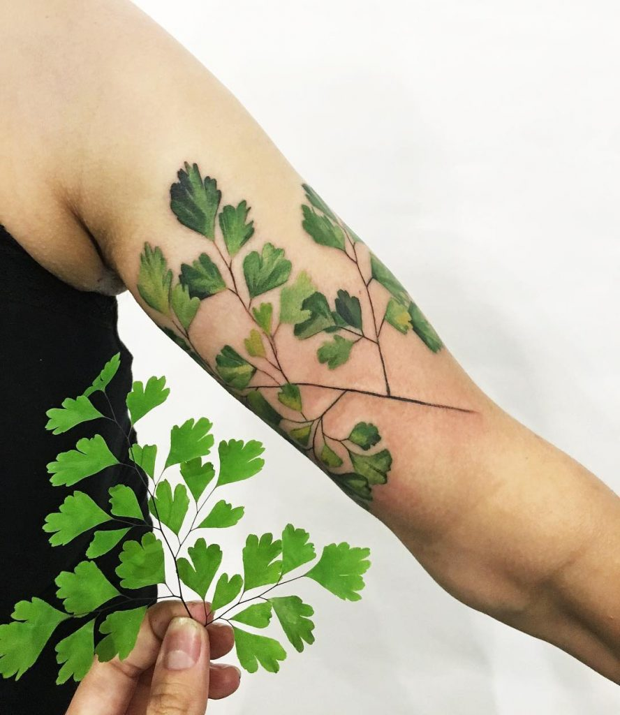 Green parsley tattoo