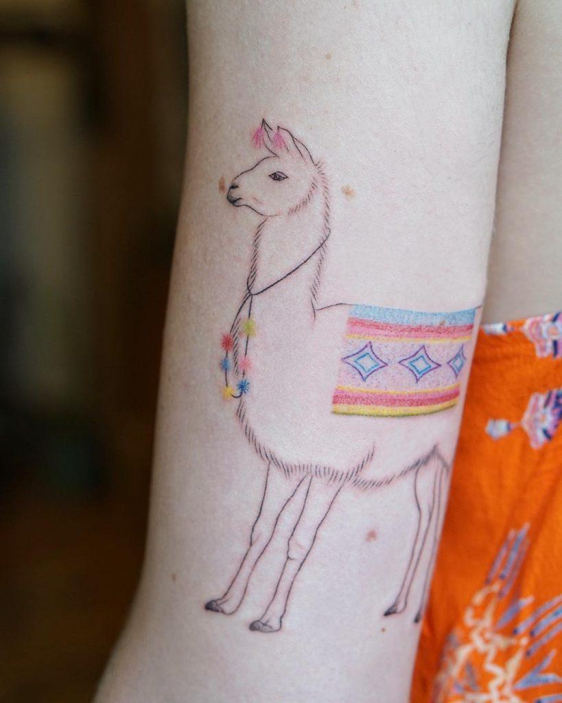 Handpoke llama tattoo