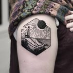 Hexagon landscape tattoo