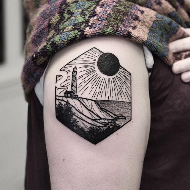 Hexagon landscape tattoo