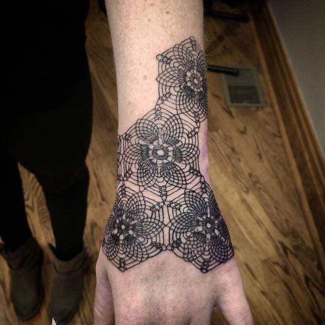 Honeycomb mandala tattoo
