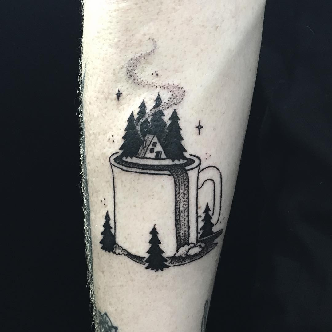 Hut in the woods on the cup