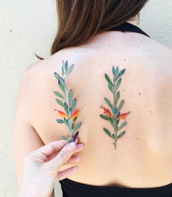Hyper realistic plant tattoo on the back
