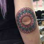 Lovely mandala on the elbow tattoo