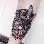 Mandala and three butterflies tattoo
