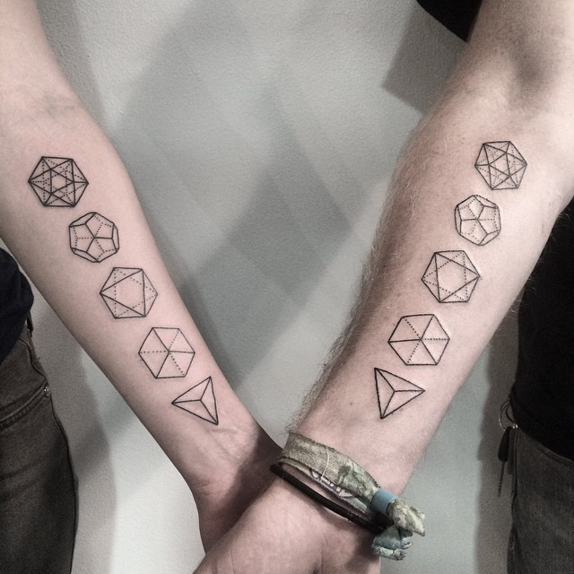 Matching geometric shapes tattoo