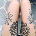 Matching mandala tattoo on the legs