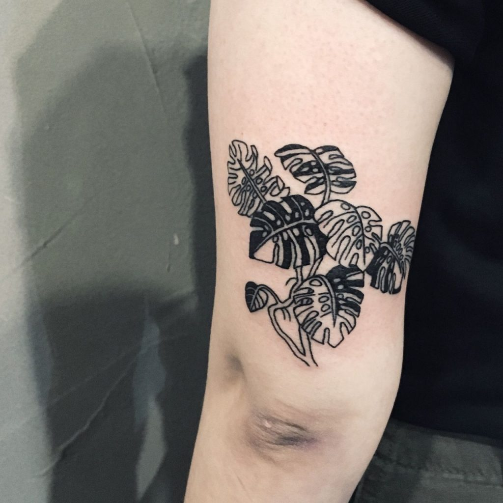 Monstera plant tattoo