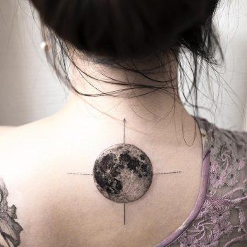 Moon compass tattoo