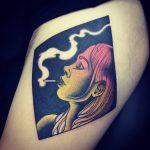Neo traditional smoking lady tattoo