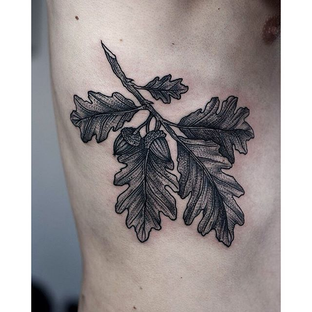 Oak branch with leaves tattoo