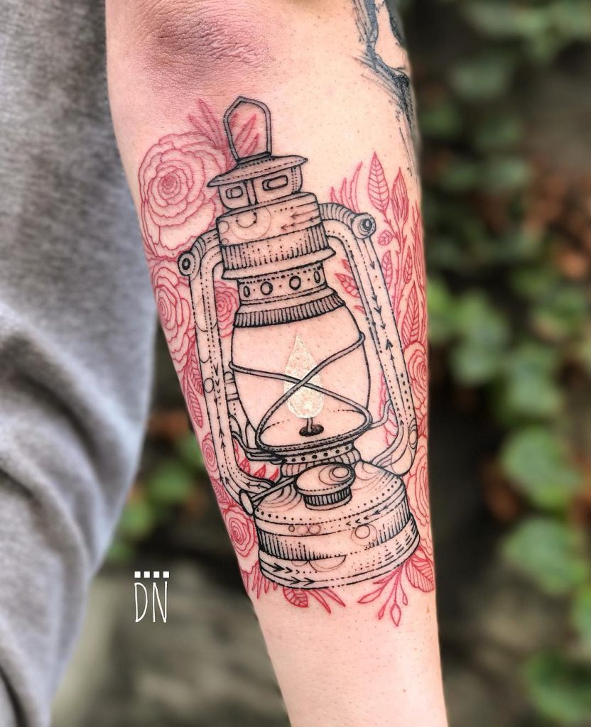 Oil lantern tattoo