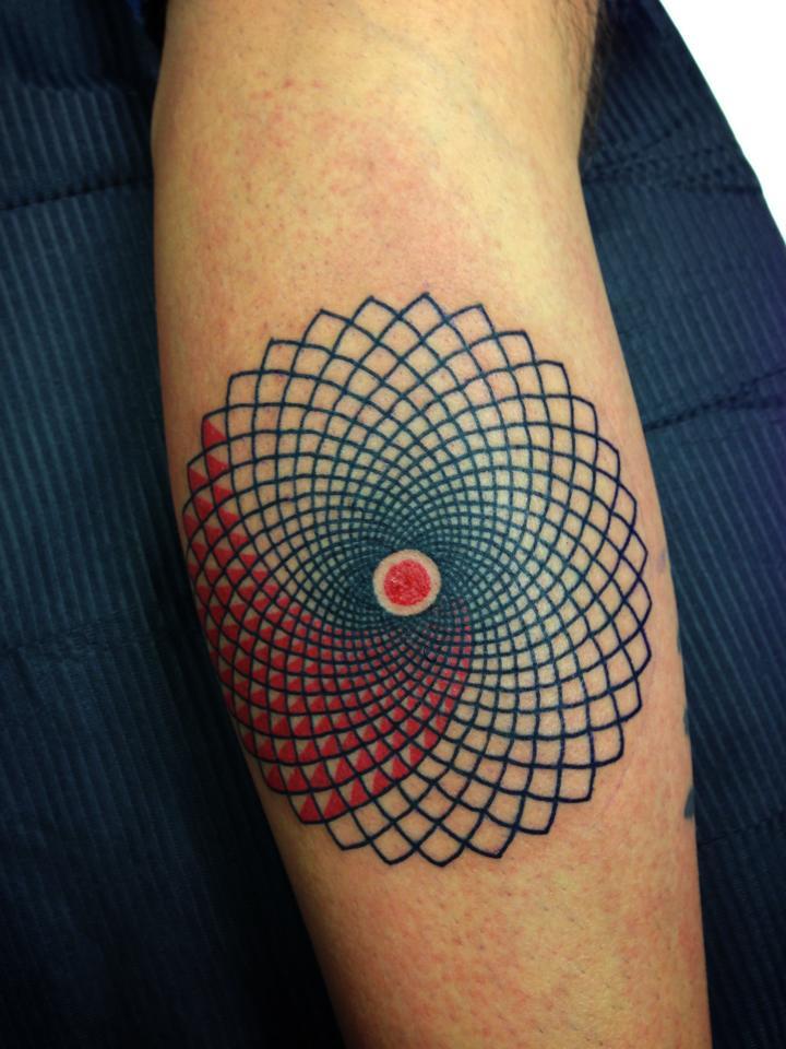 Optical illusion geometric tattoo