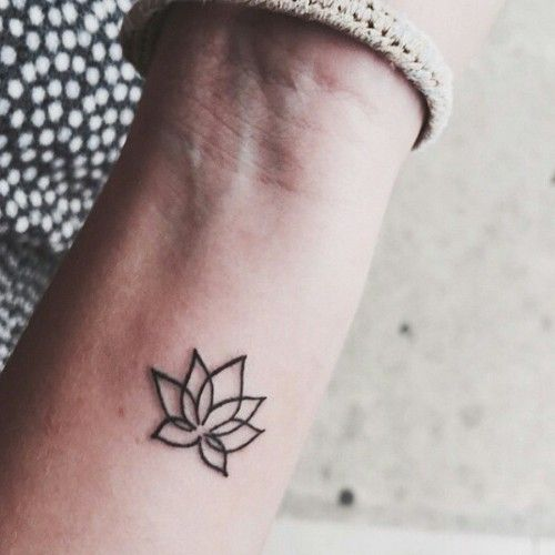 Outline small lotus flower tattoo