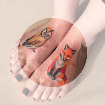 Owl and fox tattoos on the feet