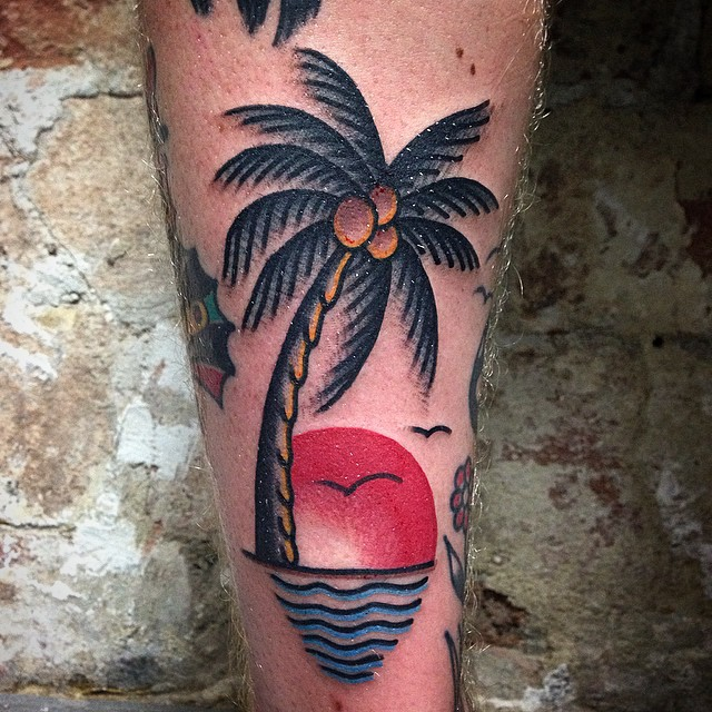 Palm tree and sea tattoo