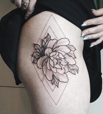 Peony in a rhombus tattoo