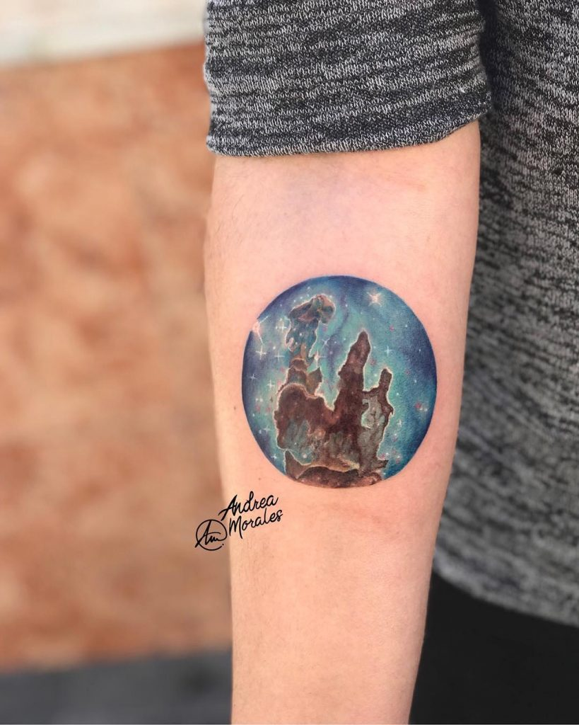 Pillars of creation or eagle nebula tattoo