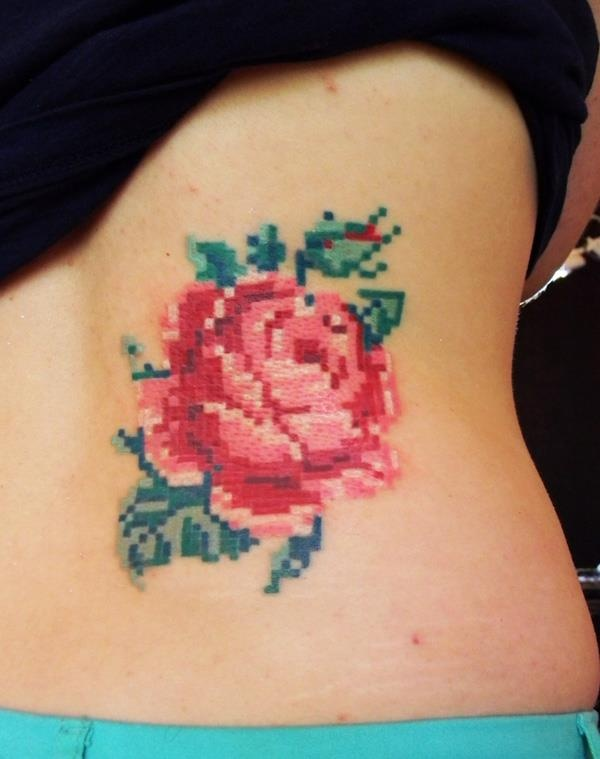 Pixel art tattoo of a rose