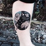 Planets and spaceships tattoo