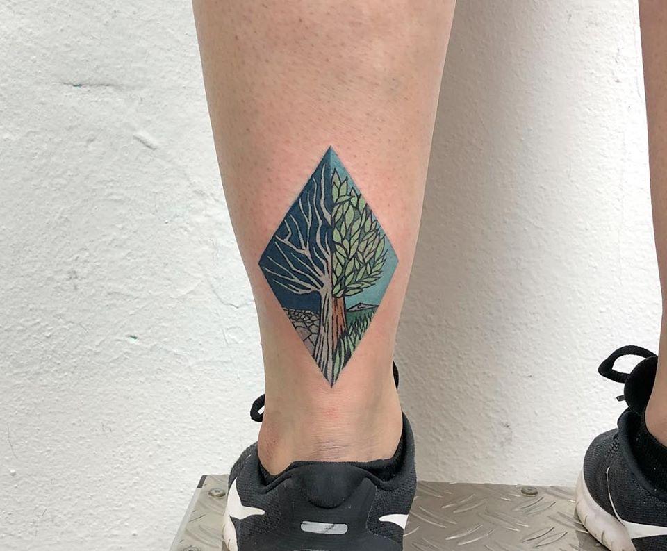 Rhombus dead and alive tree tattoo