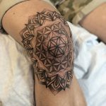 Sacred geometry knee tattoo