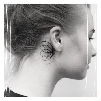 Seed of life behind the ear tattoo