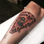 Traditional slice of pizza tattoo