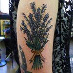 Violet flower bundle tattoo