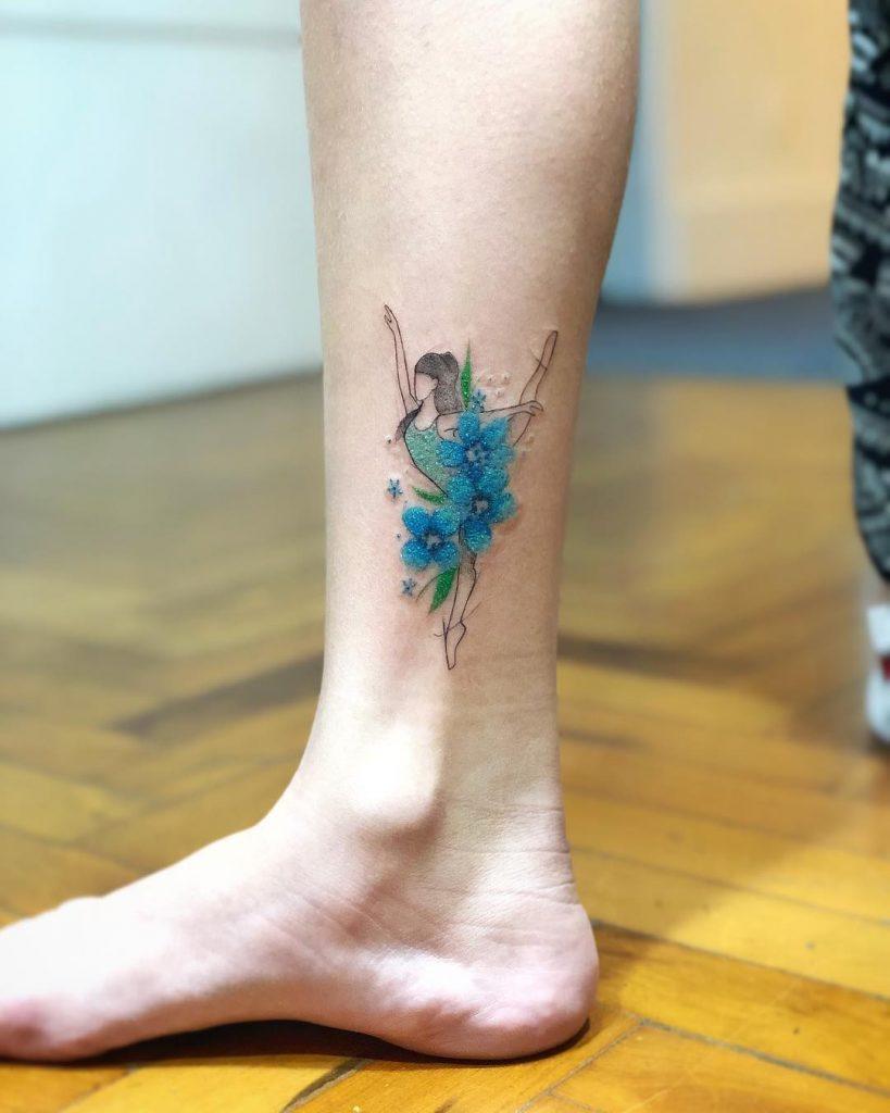 Watercolor ballerina tattoo