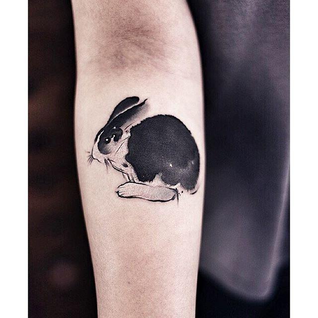 Watercolor rabbit tattoo