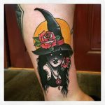 Witch with roses tattoo
