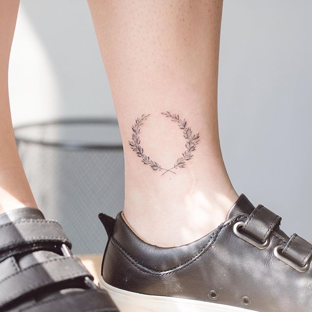 Wreath tattoo on the ankle