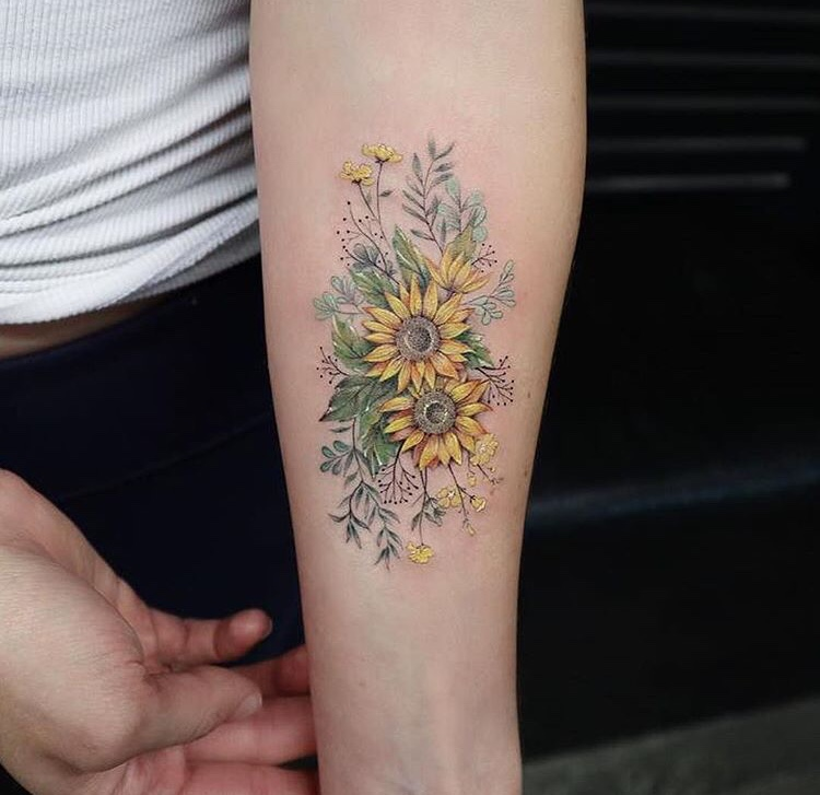Yellow Wildflowers Tattoo On The Forearm