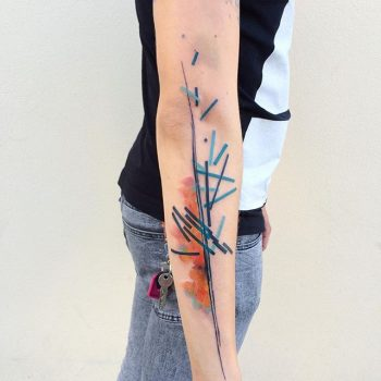 Abstract blue and orange tattoo