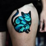 Abstract cat tattoo