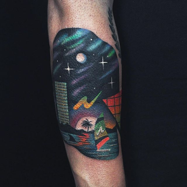 Abstract landscape tattoo