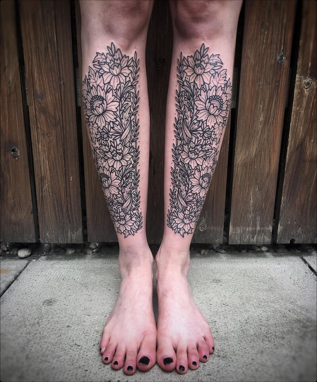 Beautiful matching flower tattoos