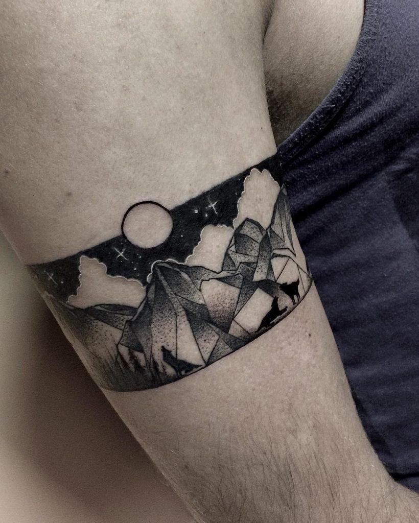 Black and gray landscape armband tattoo