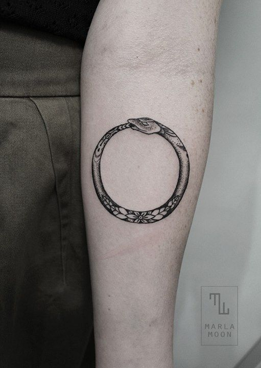 Black and gray ouroboros tattoo