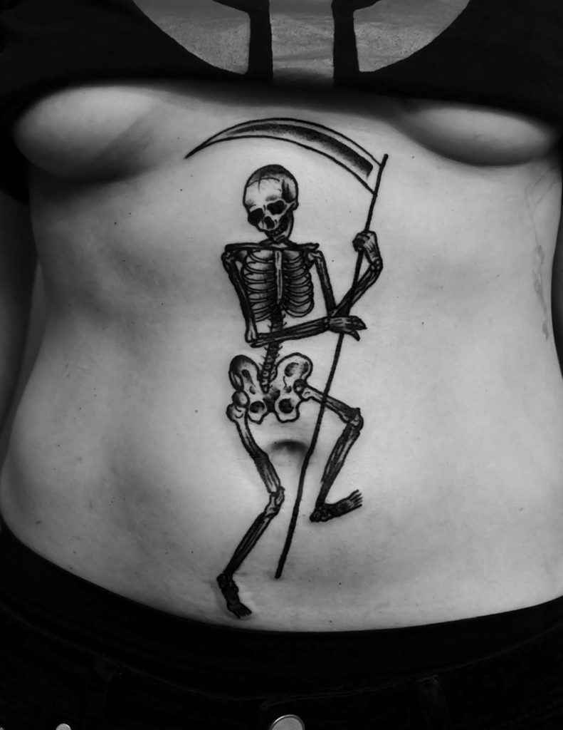 Black dancing death tattoo
