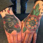 Black panther and mandala tattoo