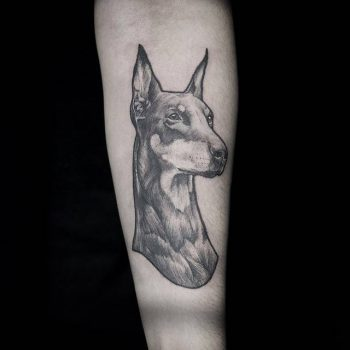 Black tattoo of a dobermann