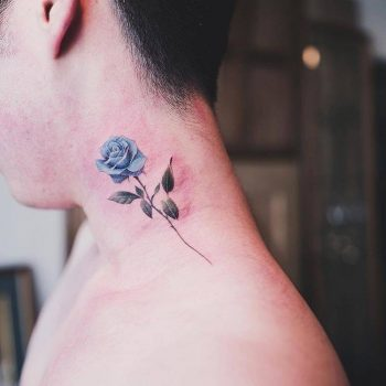 Blue rose tattoo on the neck