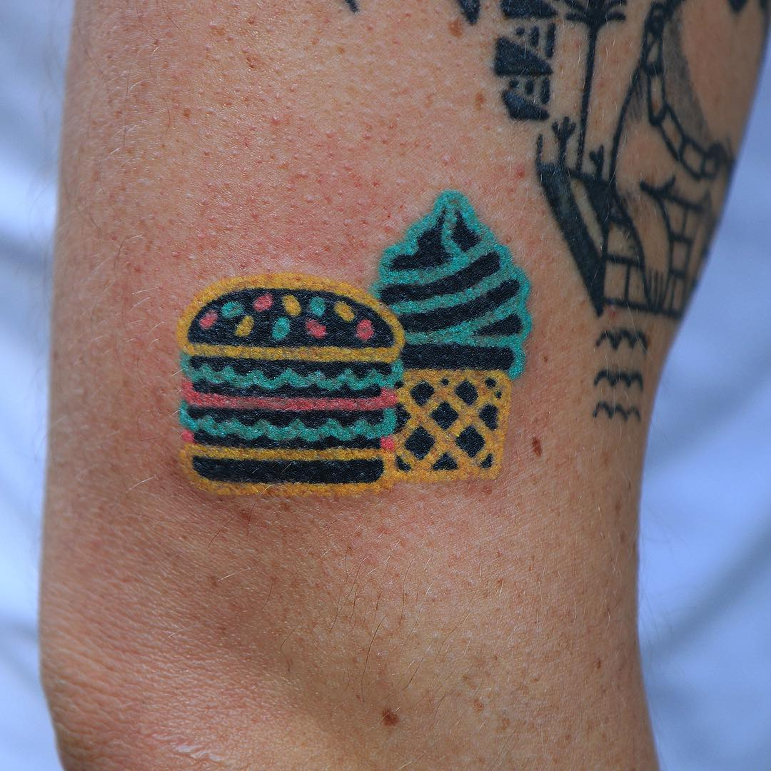 Burger and cupcake tattoo
