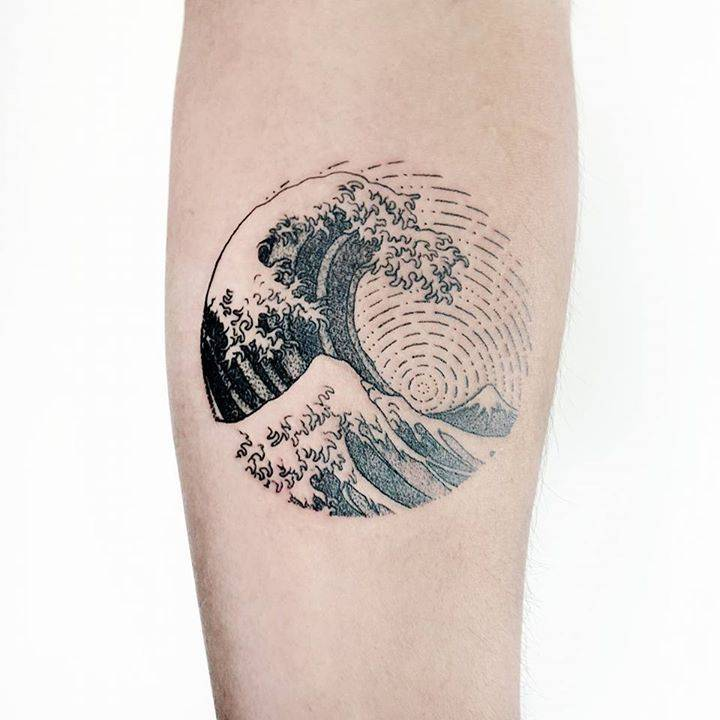 Circular japanese style tattoo