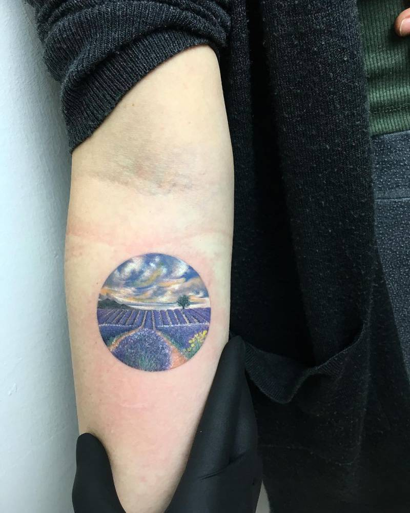 Circular lavender fields tattoo