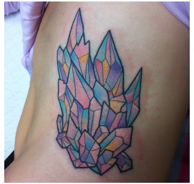 Colorful crystal cluster tattoo